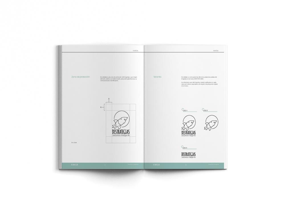 Destrategias oneline manual identidad corporativa marca logo