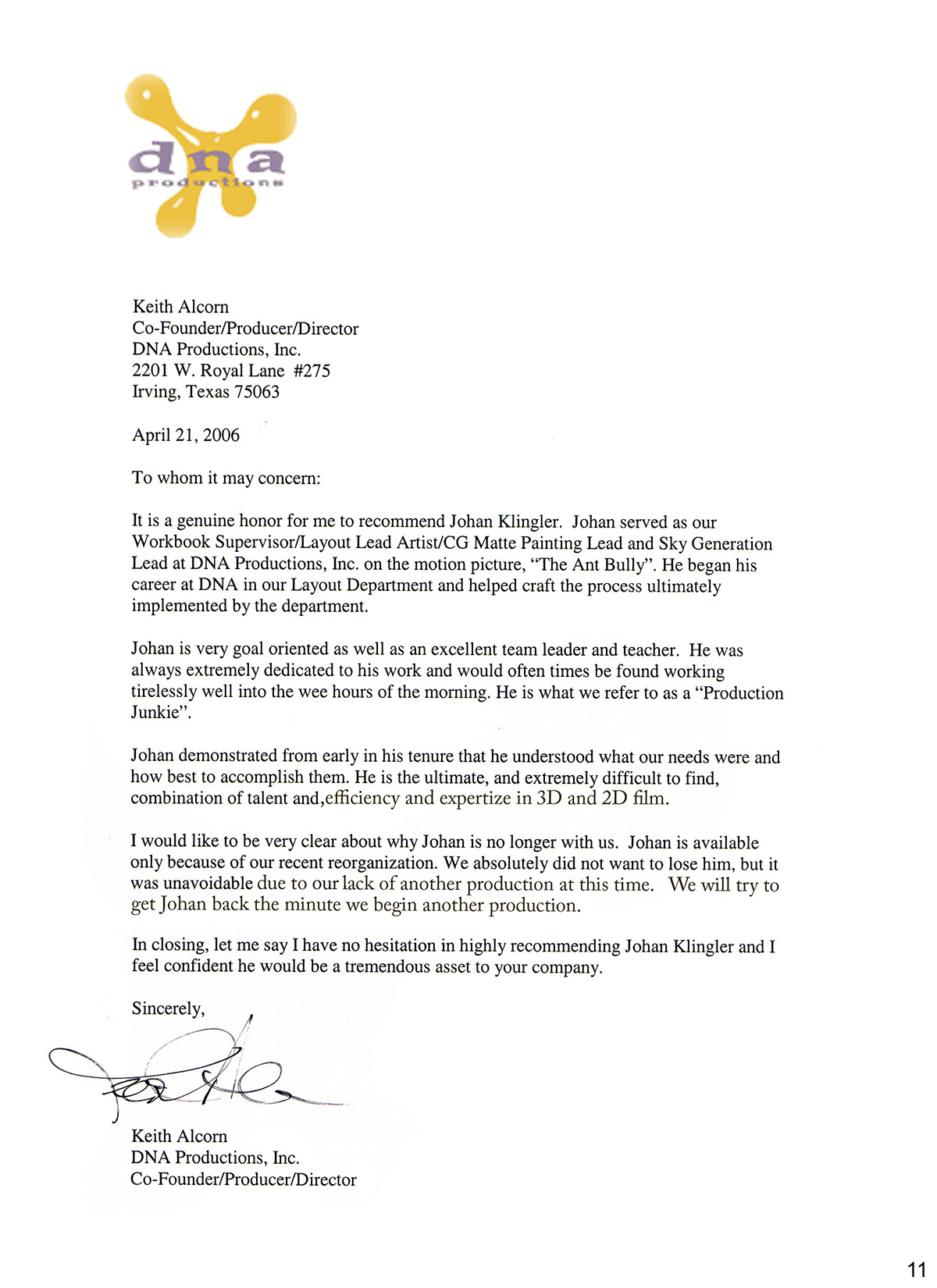 letters of recommendation from colleagues on behance