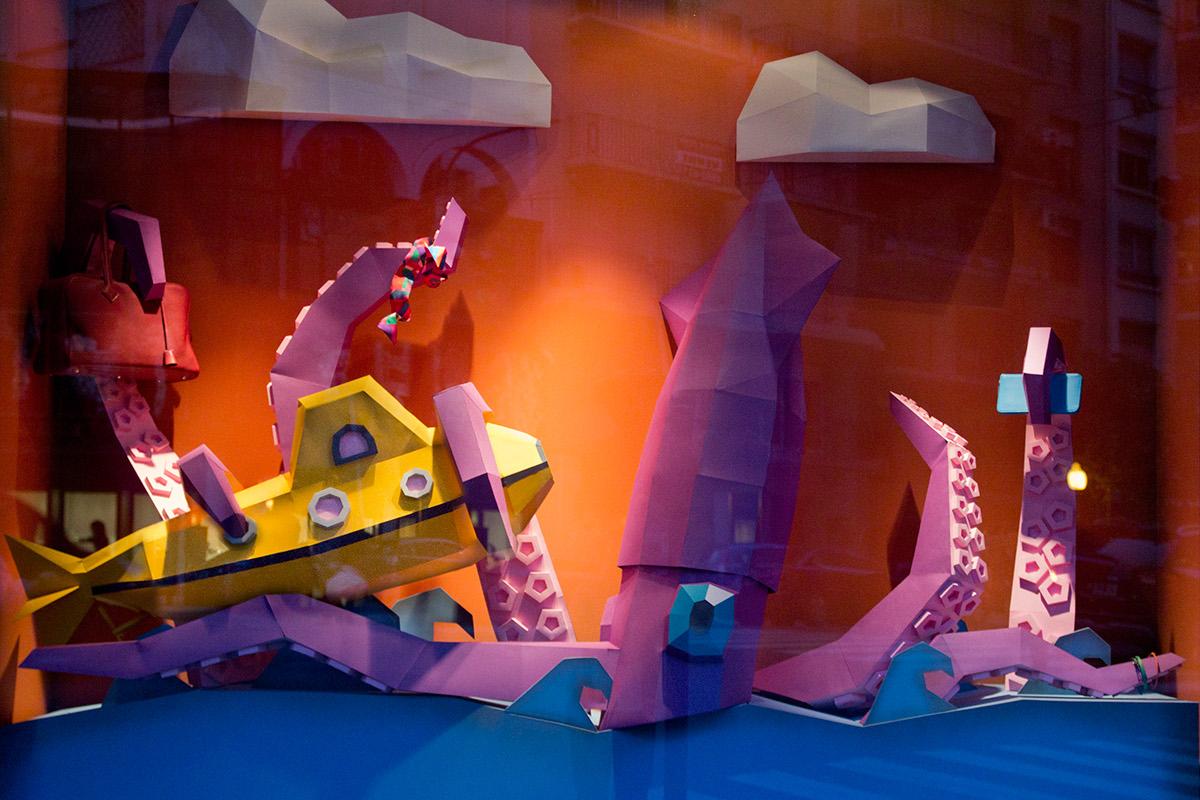 hermes buenos aires fadu uba 20000 leguas  20000 Leagues Yellow Submarine octopus Squid calamar submarino papercraft Window Display vidriera