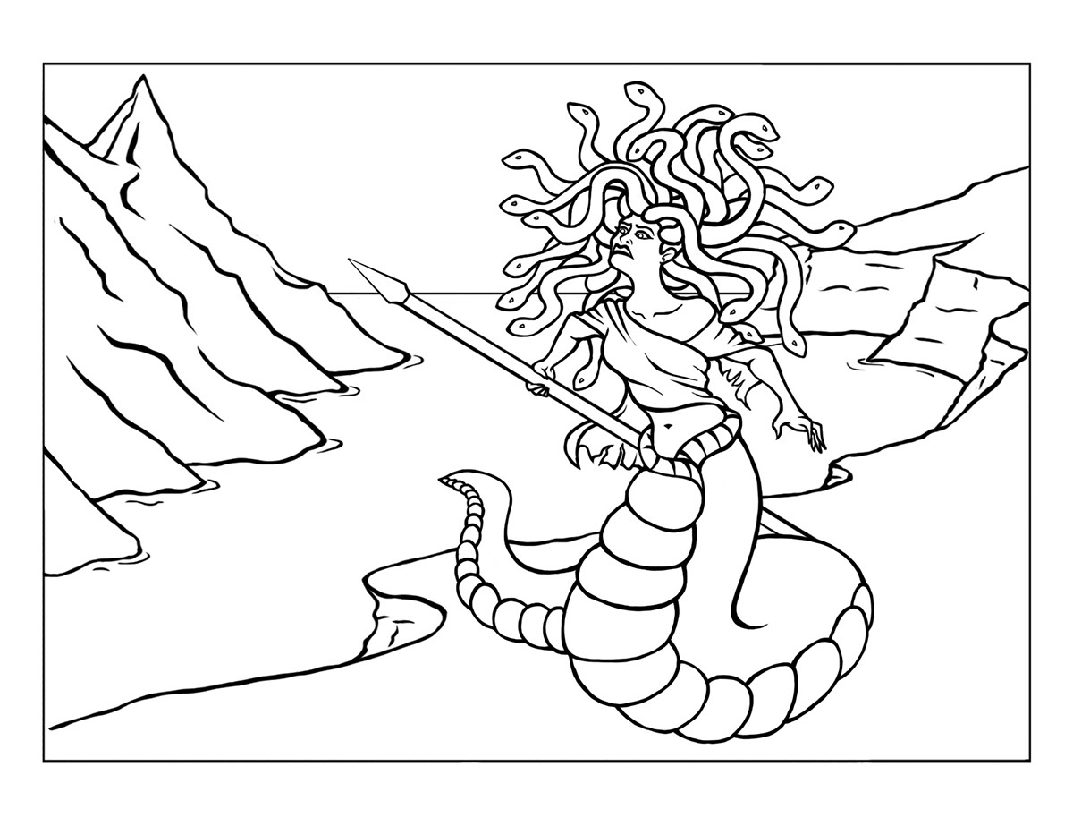 Mythical creatures colouring book on behance for Medusa coloring pages