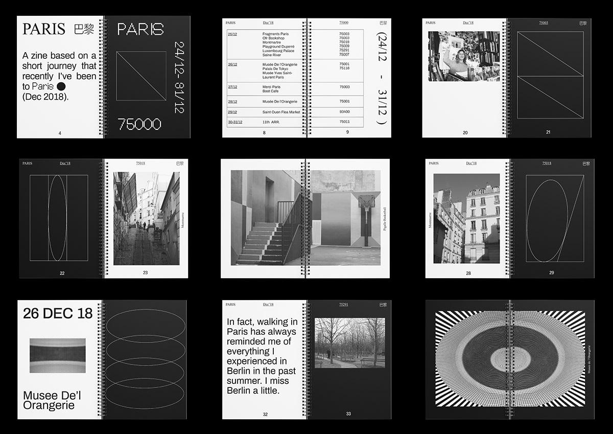 typography   graphic design  editorial design  art direction  art publication Zine  fanzine Travel Paris