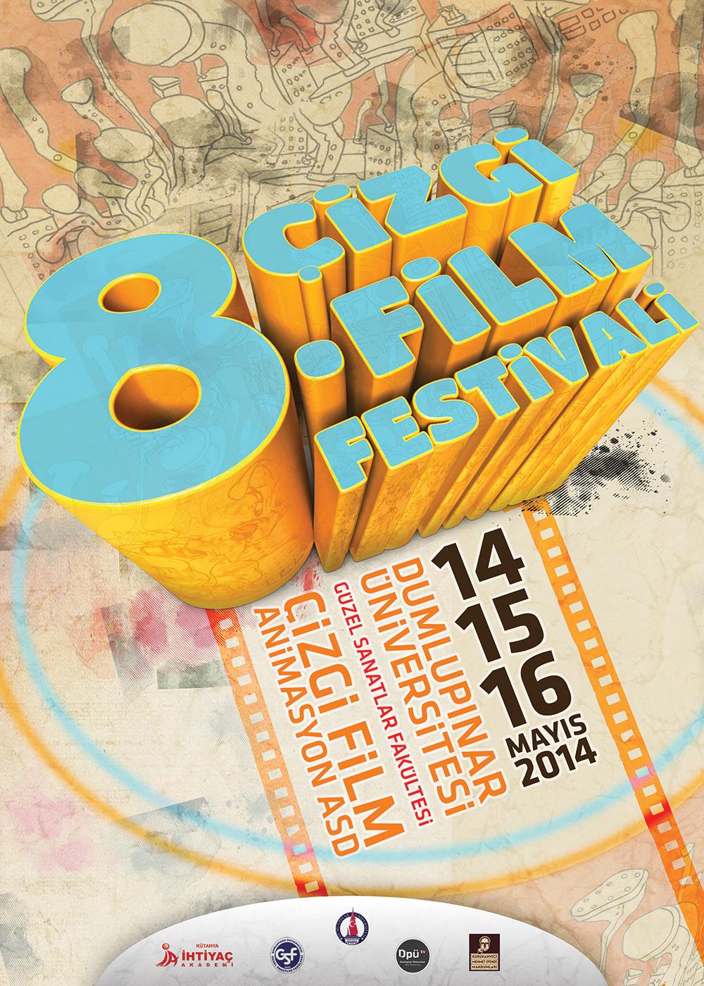 Animation Festival festival Cartoon Festival Website çizgi film hasan calp dumlupınar DPU dpü gsf brand logo 3d logo