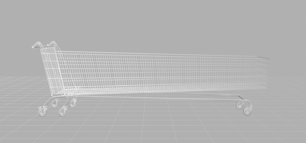 CGI 3D modelling Visualising Morrisons Shopping Food  trolley