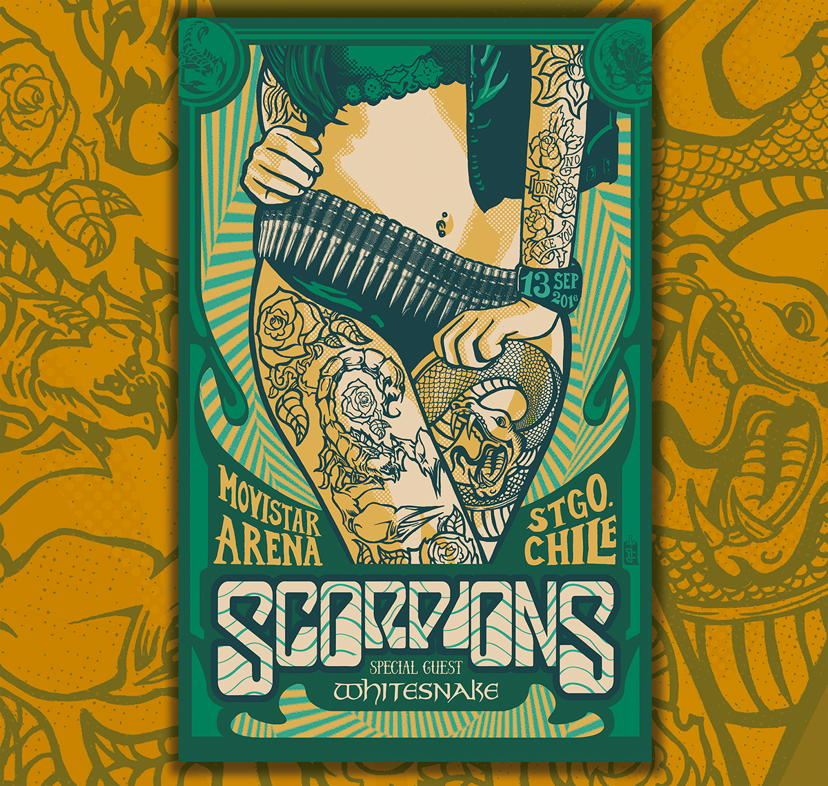 scorpions u0026 whitesnake gigposter on behance