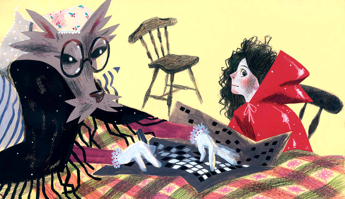 illustrations book little red riding hood Charles Perrault Character design  wolf grandma acrylic colage