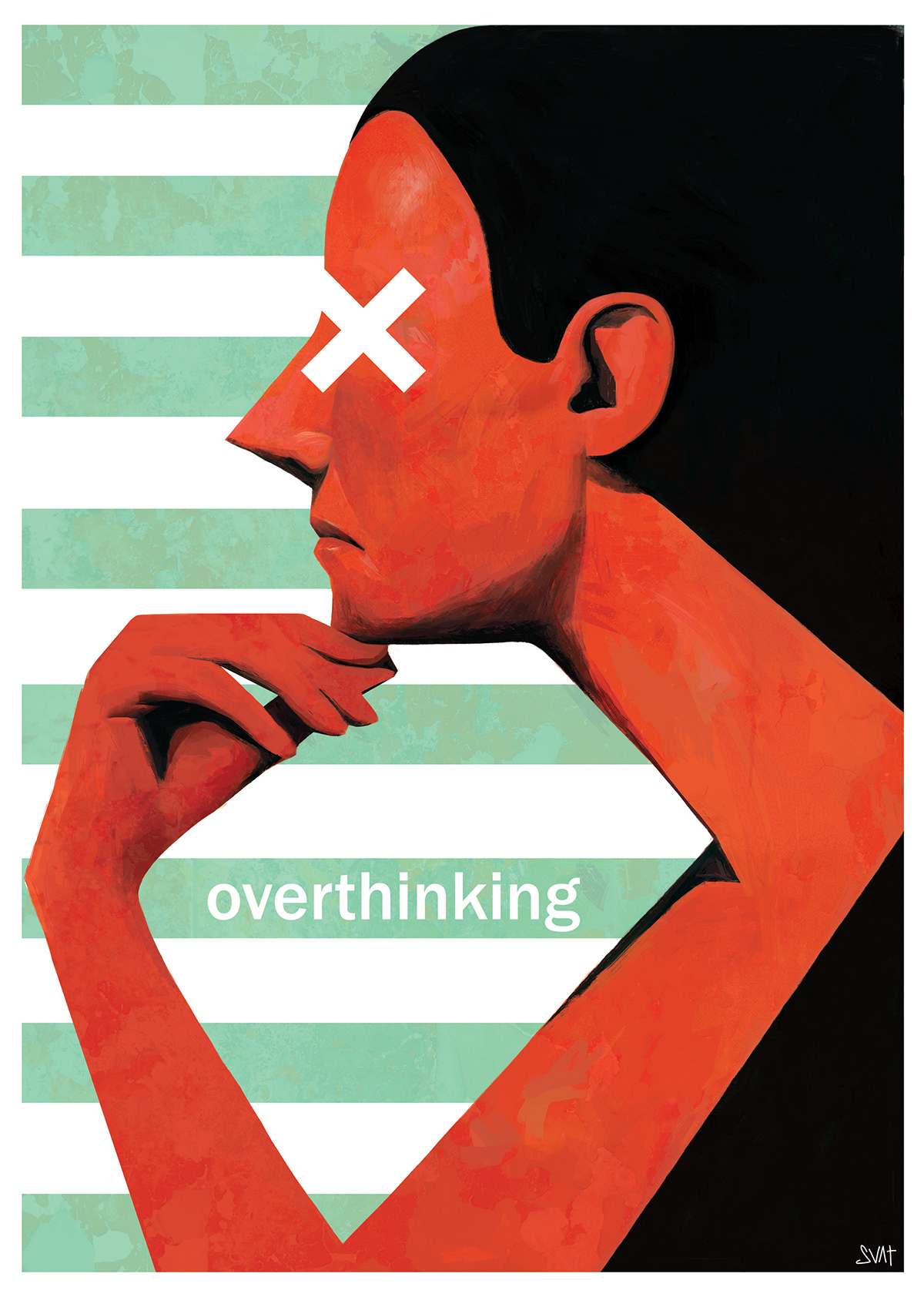 'Overthinking - How much is too much?' Portrait of a wondering lady with eyes crossed.