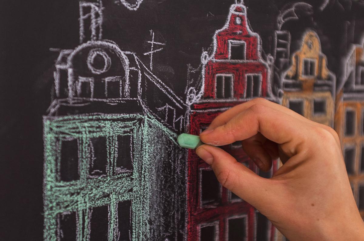 Christmas Chalk art chalkboard Art Pastels Stockholm Scandinavia sverige Sweden postcards new year