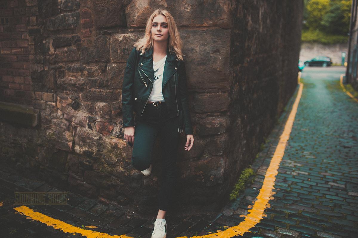 edinburgh girl Fashion  old town street style blonde hat scotland