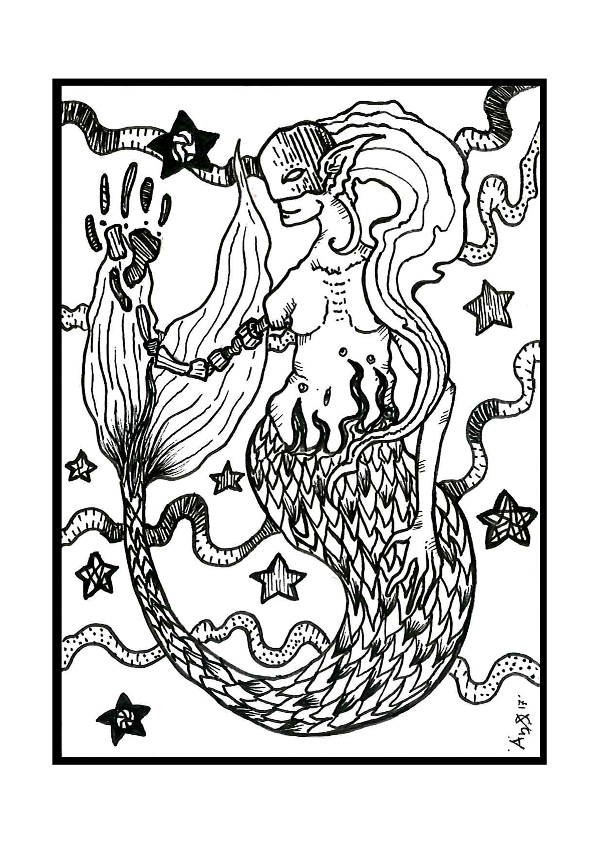 coloring book black and white creatures monsters pen illustration queer mermaid goat plants Patterns