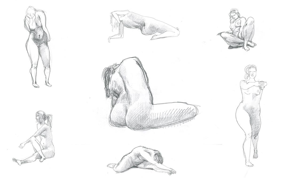 Modello nudo pose