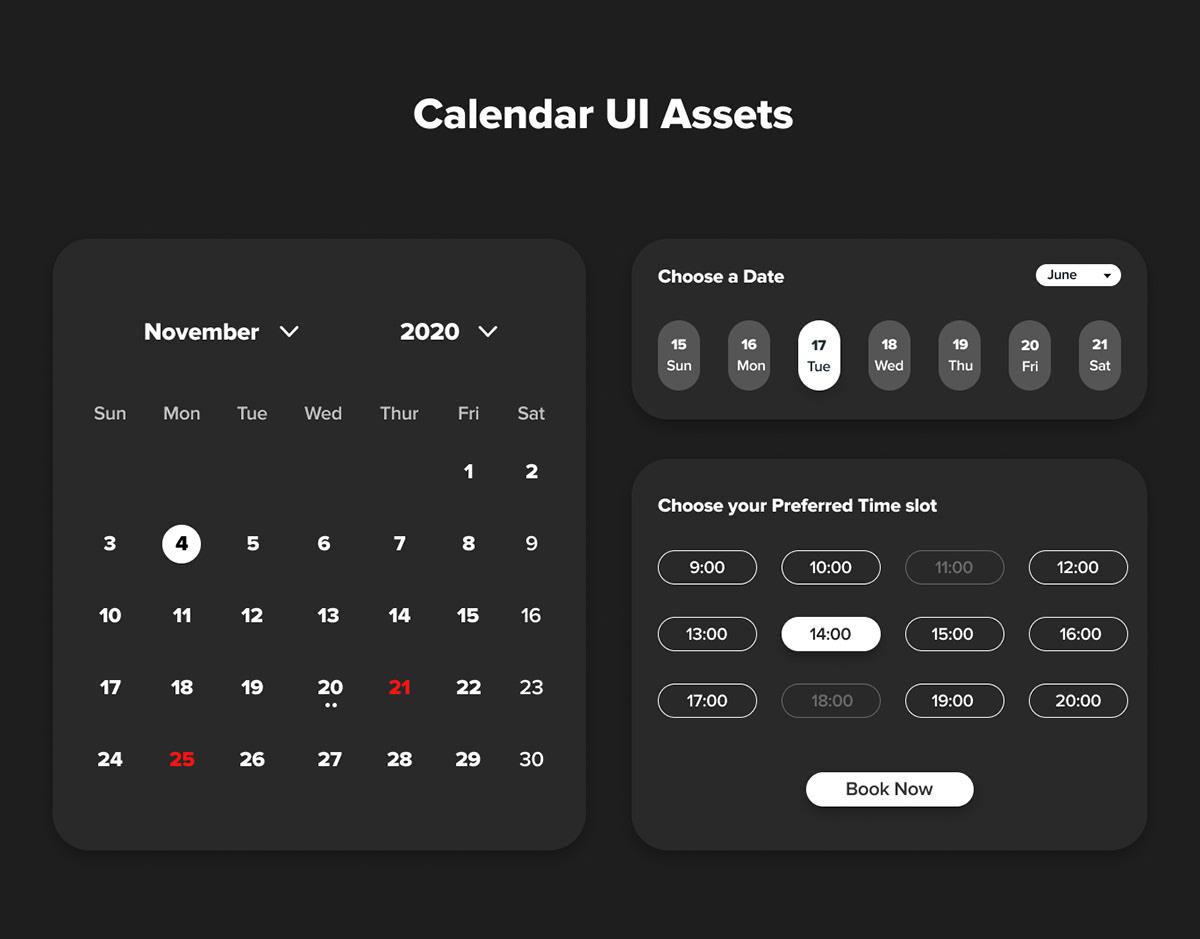 app calendar calendar design Calendar UI mobile UI UI Assets UI/UX user interface ux