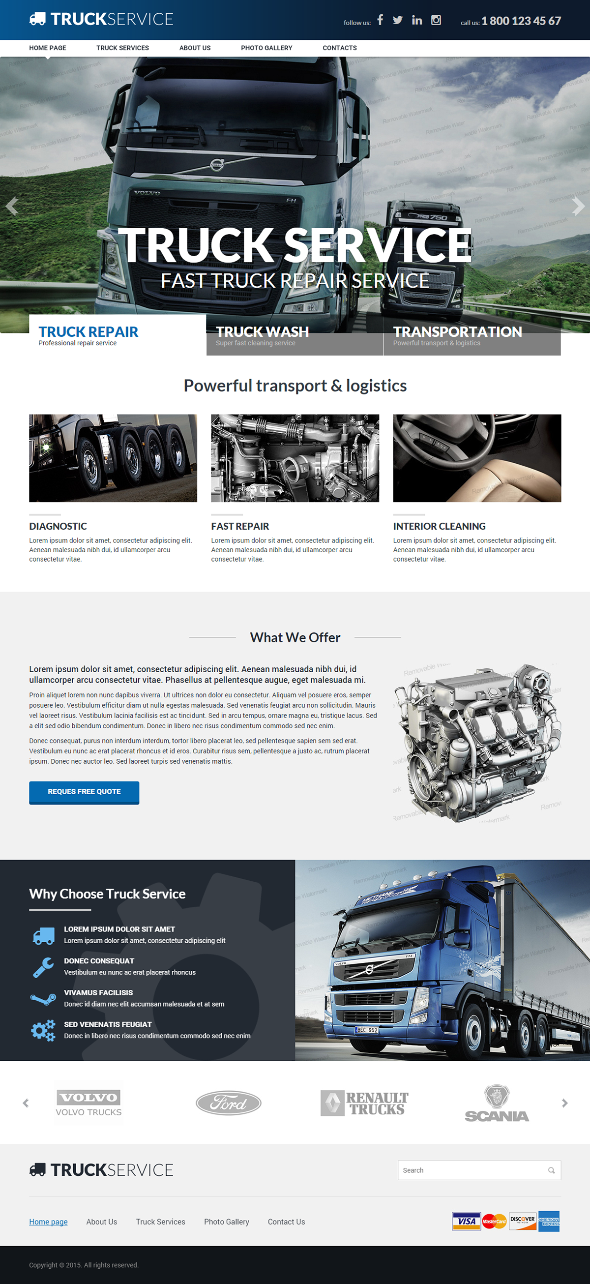 truck service responsive html template on behance