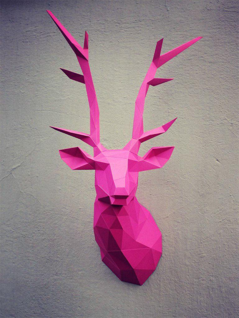 papercraft deer head on behance. Black Bedroom Furniture Sets. Home Design Ideas
