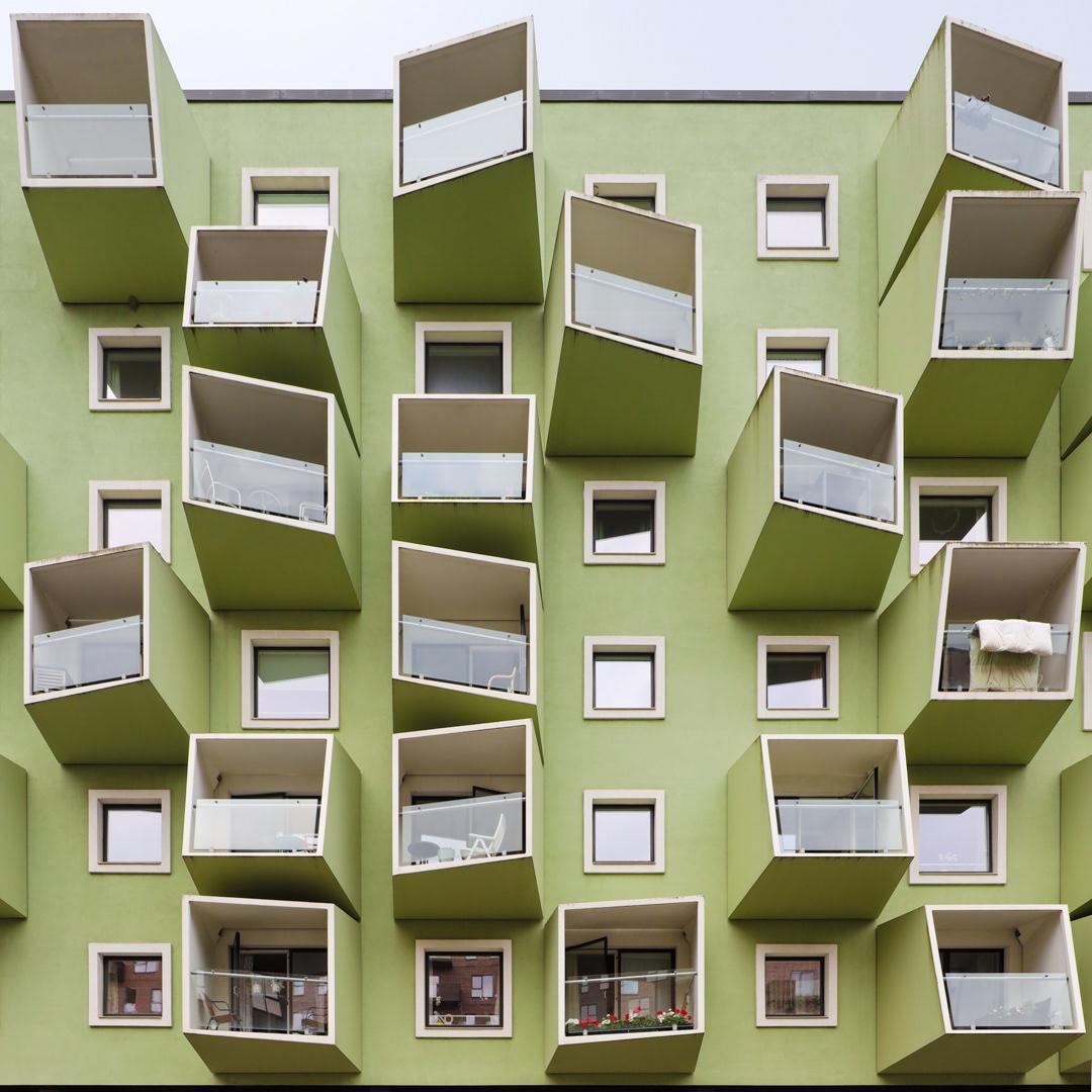 Stunning balcony design in this retirement home in Orestad, Copenhagen, Denmark