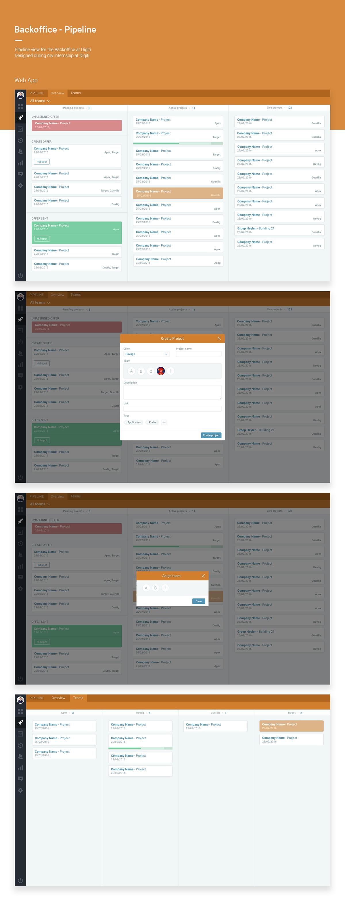 backoffice UI ux lanes web app dashboard