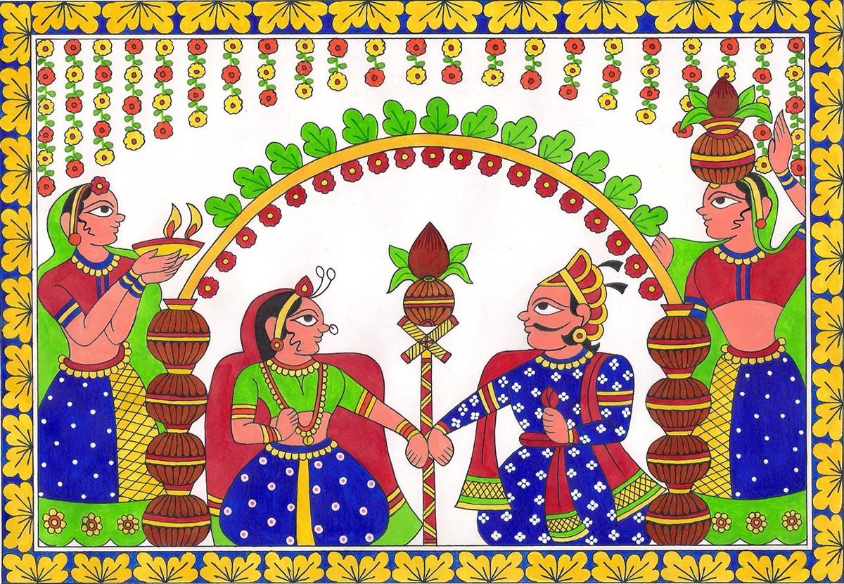 Kalamkari madhubani phad wedding invitation ganesha Radha Krishna tree of life Indian folk art Folk Paintings