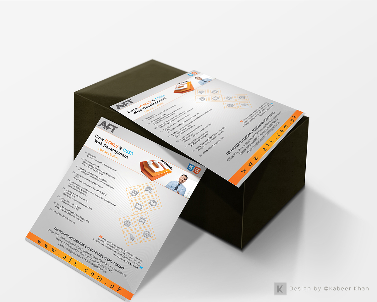 Flyer design microsoft courses on behance flyer for core html5 css3 web development outline microsoft xflitez Images