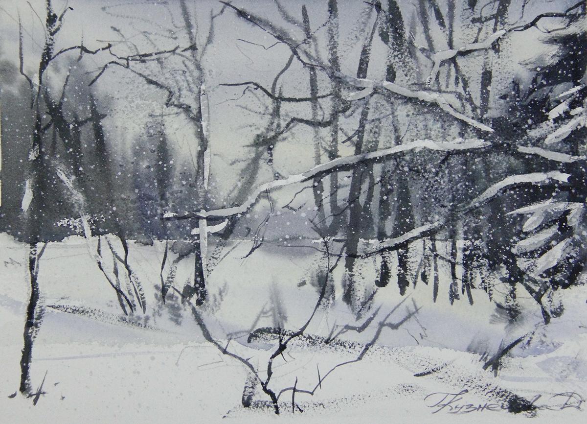 artict forest graphic art Landscape watercolor winter акварелист зима иллюстрация художник