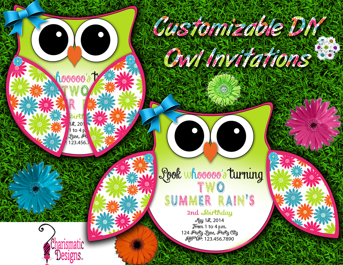 free diy customizable owl invitation printable template on behance