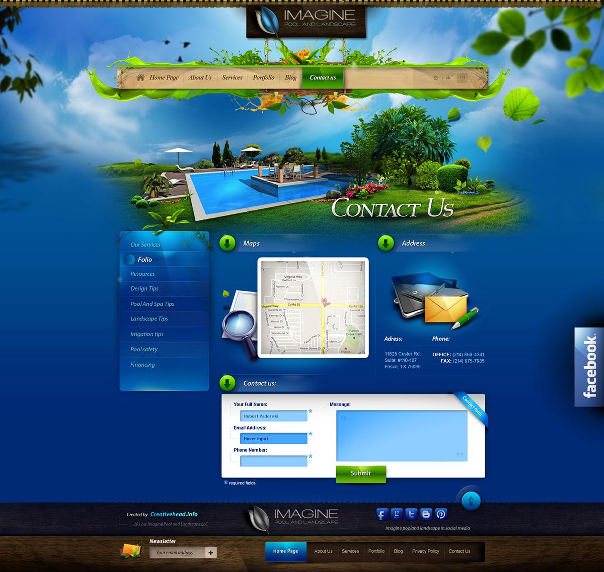 Imagine pool and landscape llc website on behance for Pool design company radom polen