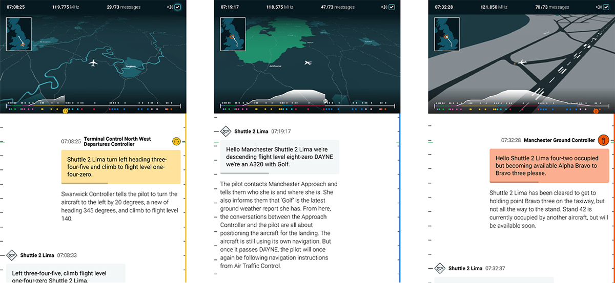 data visualization Story telling planes Aircraft atc Air traffic contrllers NATS scrolly telling 3D Data Viz