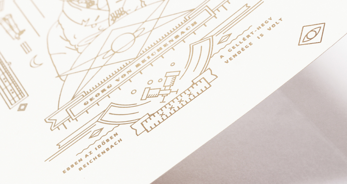 astronomy observatory Identity Design budapest hungary Icon silkscreen gold ink