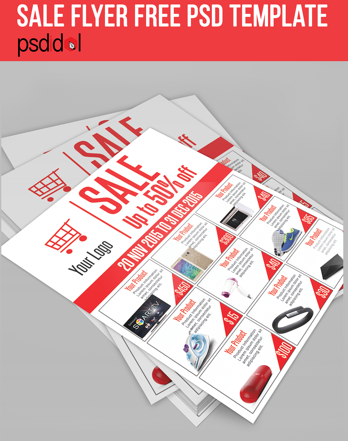 Sale Flyer Free PSD Template Download On Behance - Brochure template download