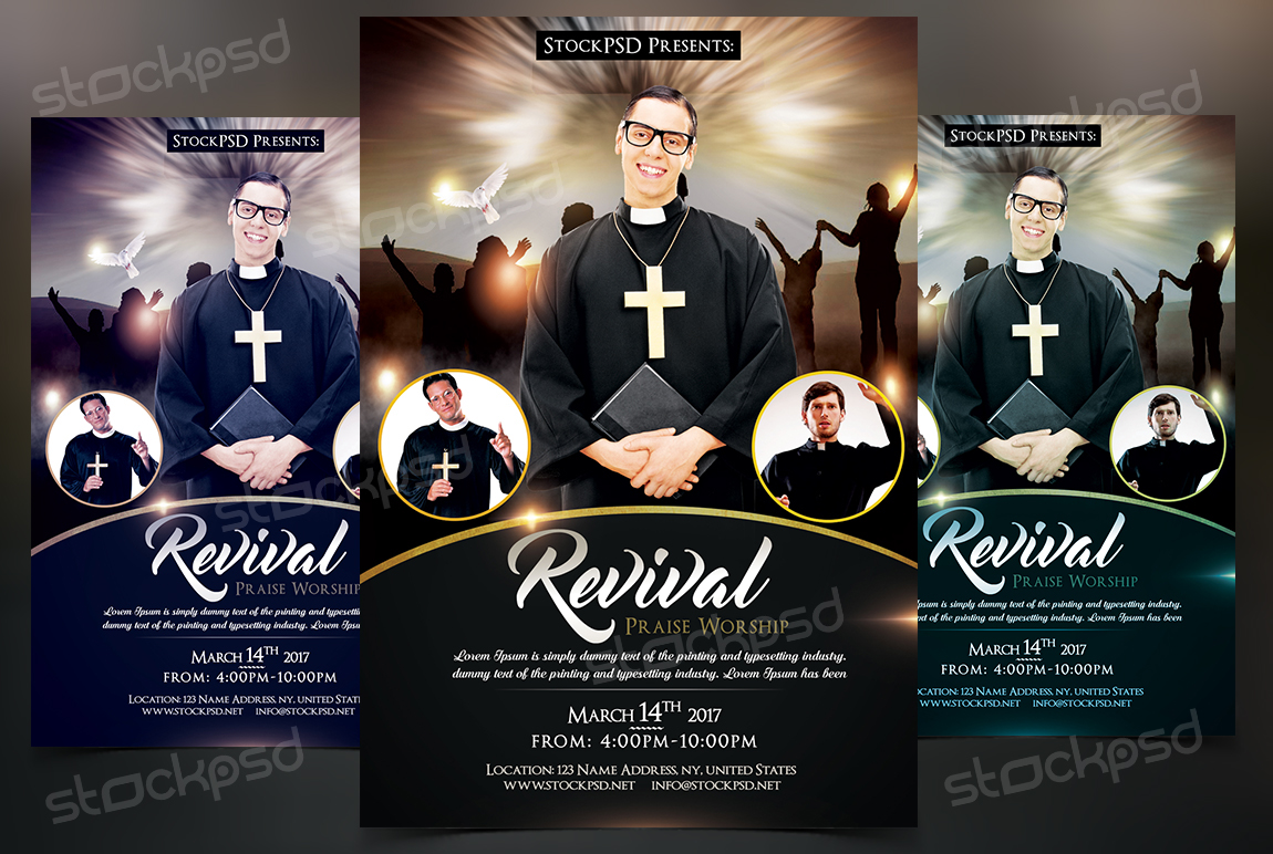 revival free church pastor psd flyer template on behance - Free Psd Flyer Templates