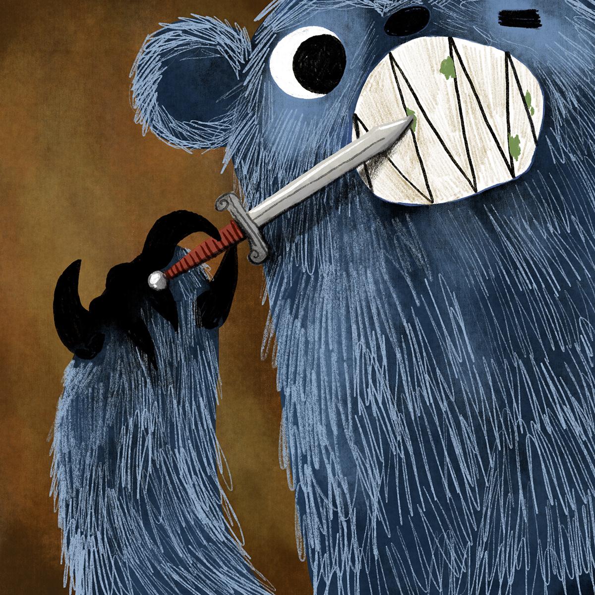 bear Blue Bear children's illustration kid lit kidlitart Picture Book Art Story Art Story Book