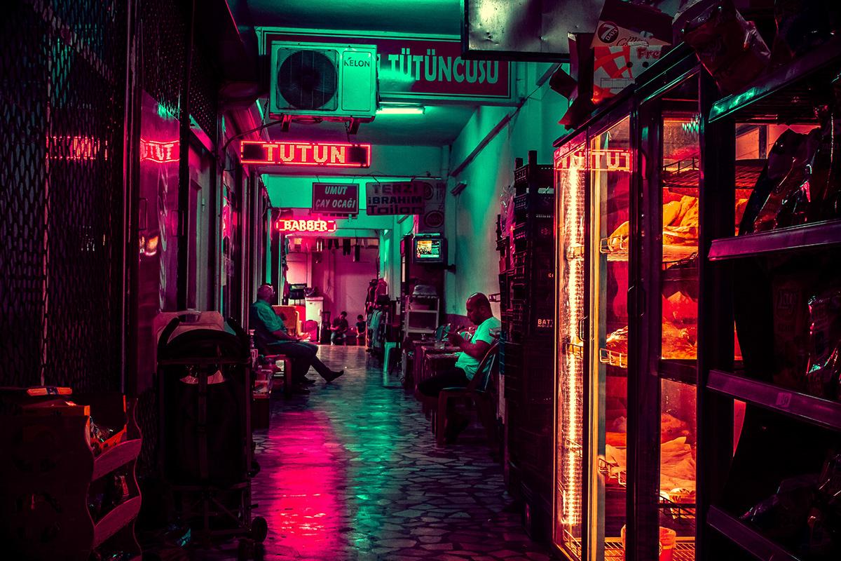 Turkey colour colorful Landscape Urban night neon light Cyberpunk Retro
