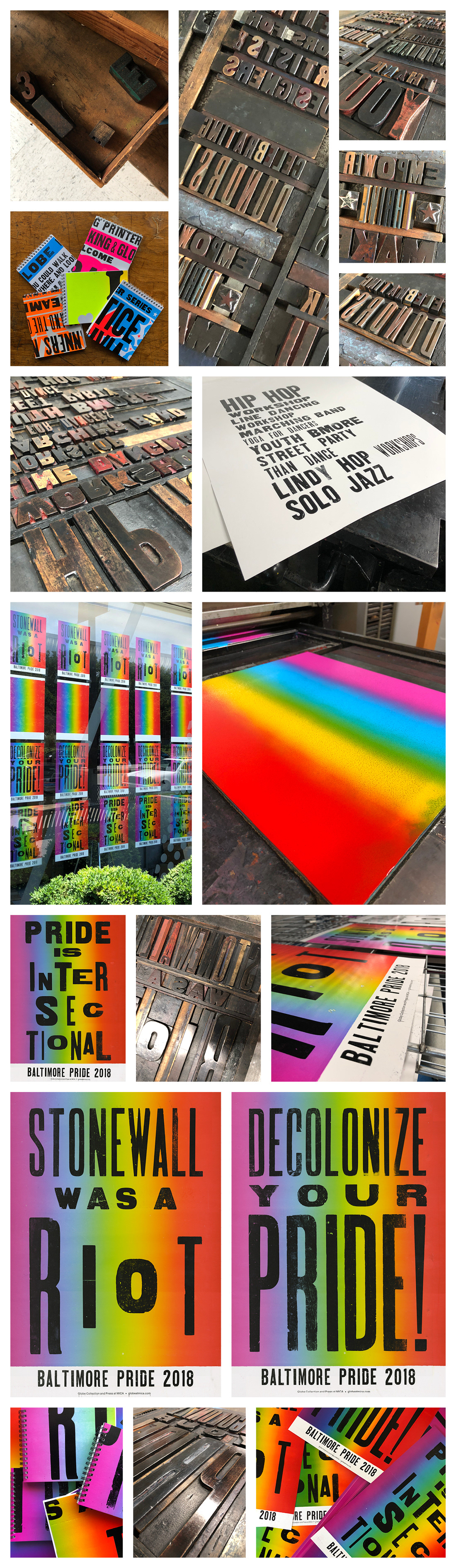 letterpress globe press globe mica Baltimore printmaking pride posters wood type