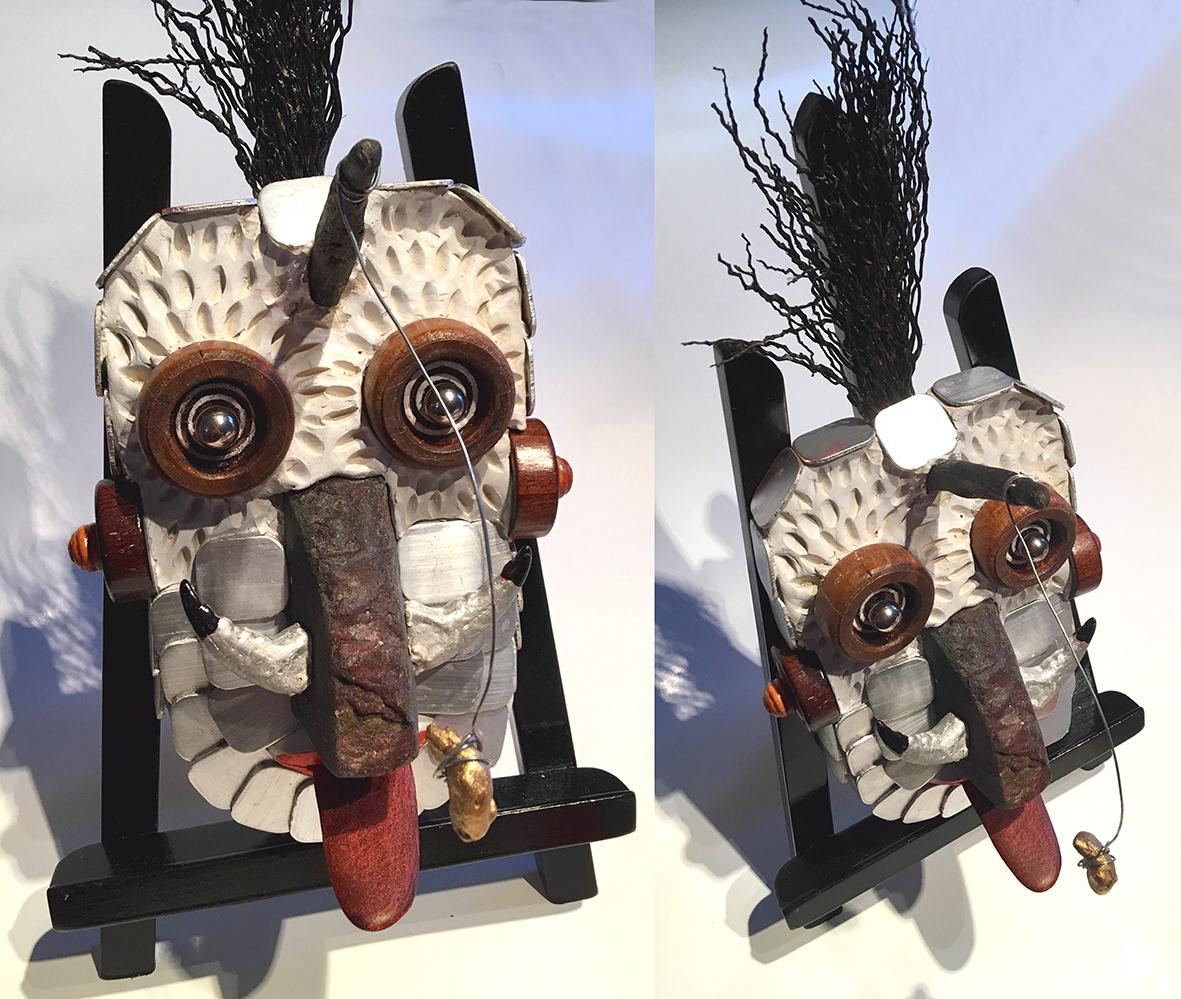 sculpture Volume art primitif expressionnisme abstrait bois metal OEIL figurine verre pierre argile