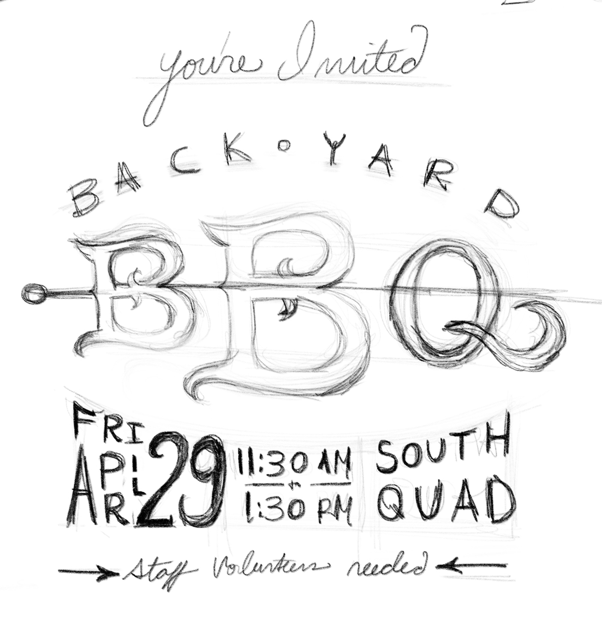 BBQ food typography Invitation party food photography custom type student affairs rustic southern email marketing