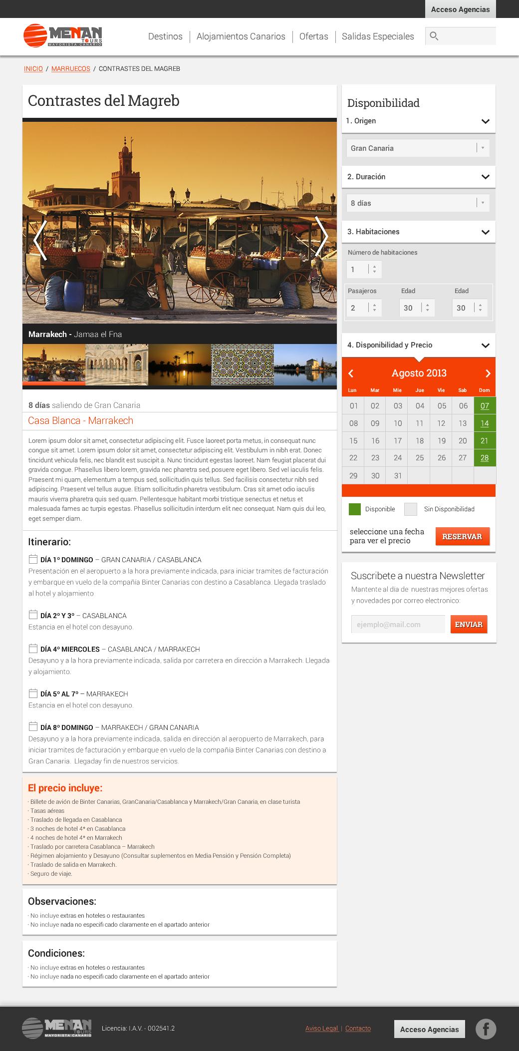 Ecommerce Travel touroperator
