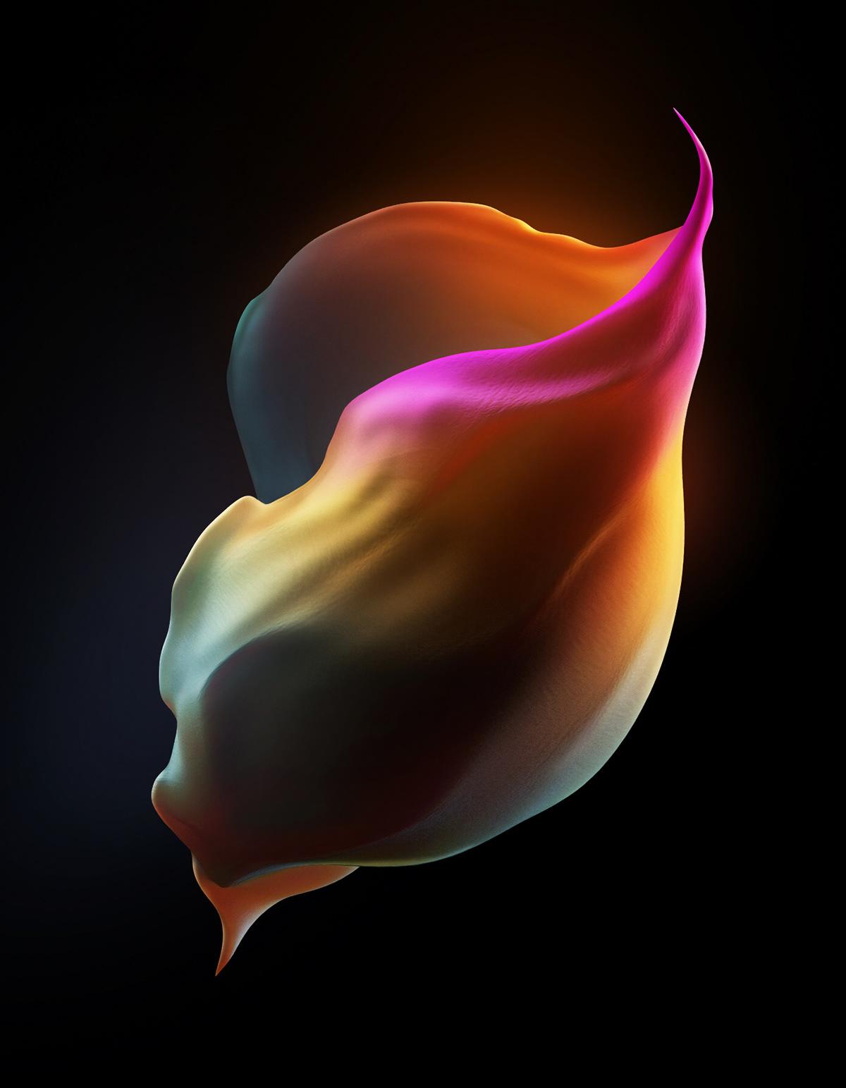 abstract CGI Flowers print Rik surreal wallpaper