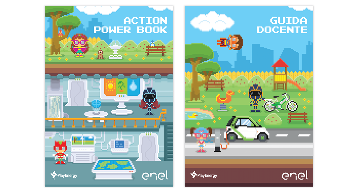 Pixel art Super Hero school kids boys energy power super power play contest enel International game kit pixel