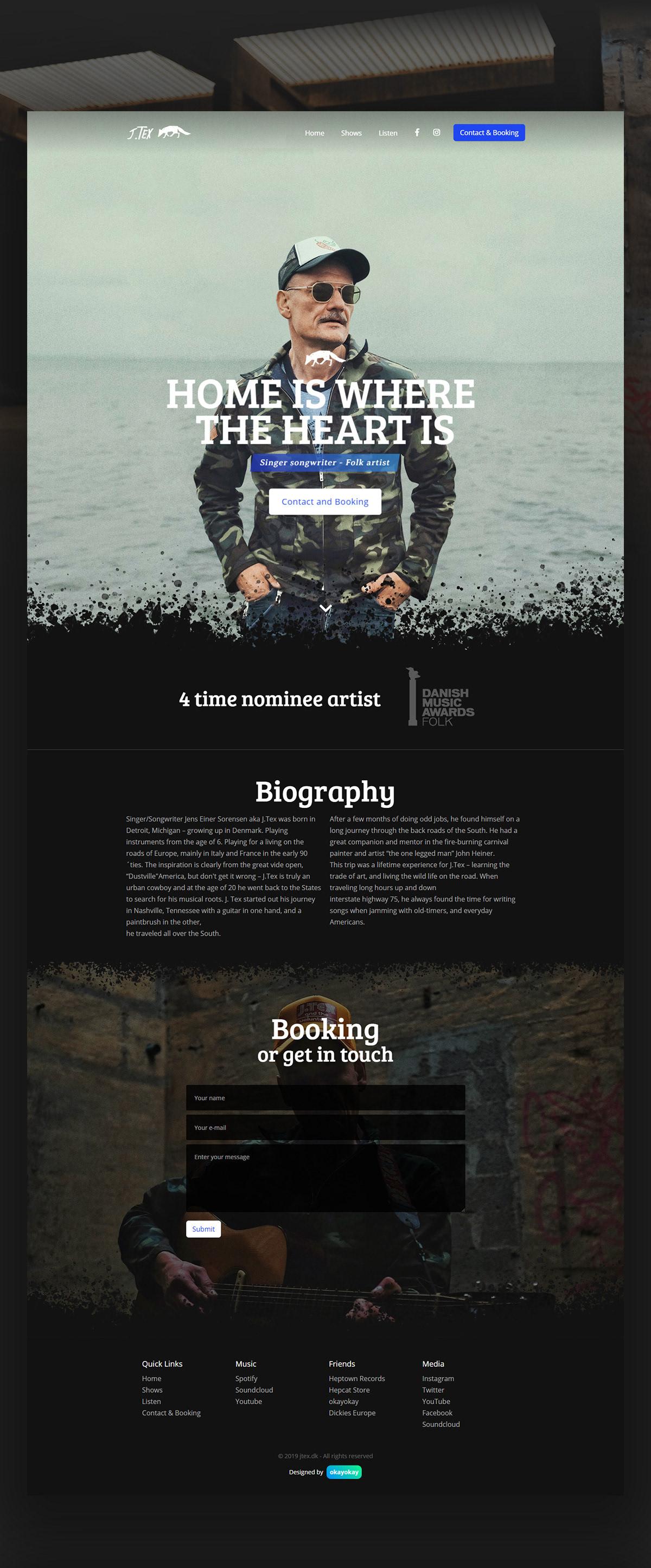 Webflow photoshop Webdesign ArtDirection music band folk rock copenhagen denmark