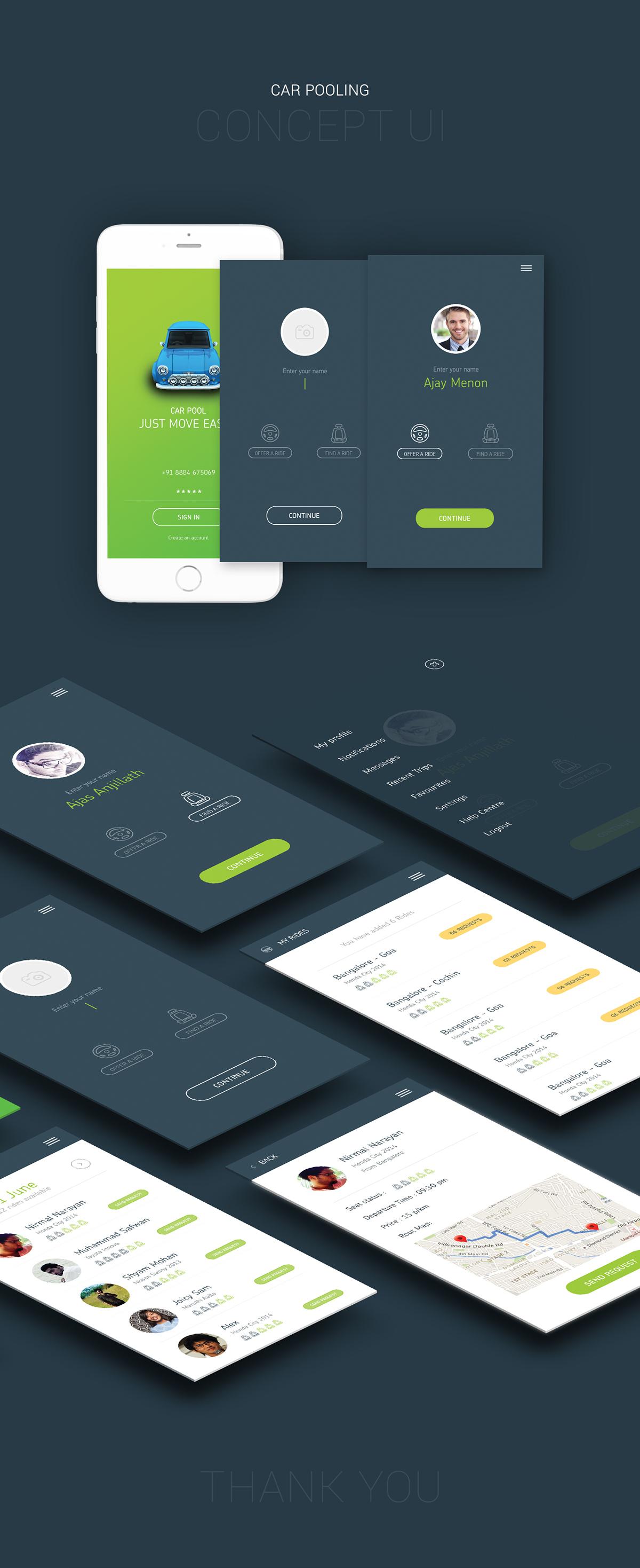 Car Pooling App Concept Ui On Behance