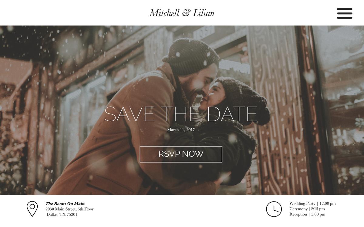 wedding planner splash page on behance