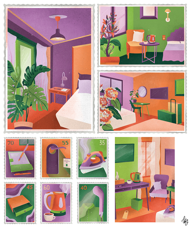Accommodation Catalogue Catalogue design graphic design  hotel ILLUSTRATION  Illustrator Layout Postage Travel