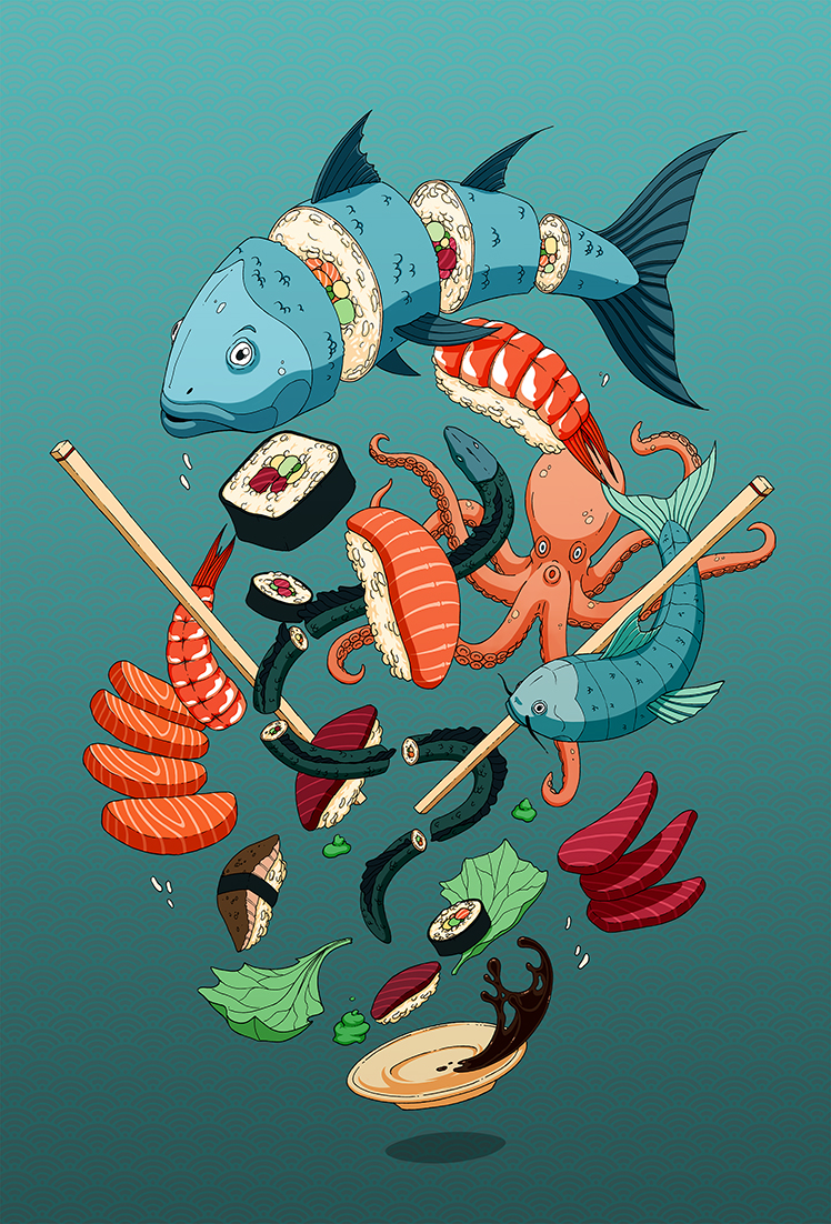 Illustrations Commissioned By A Japanese Restaurant On Behance