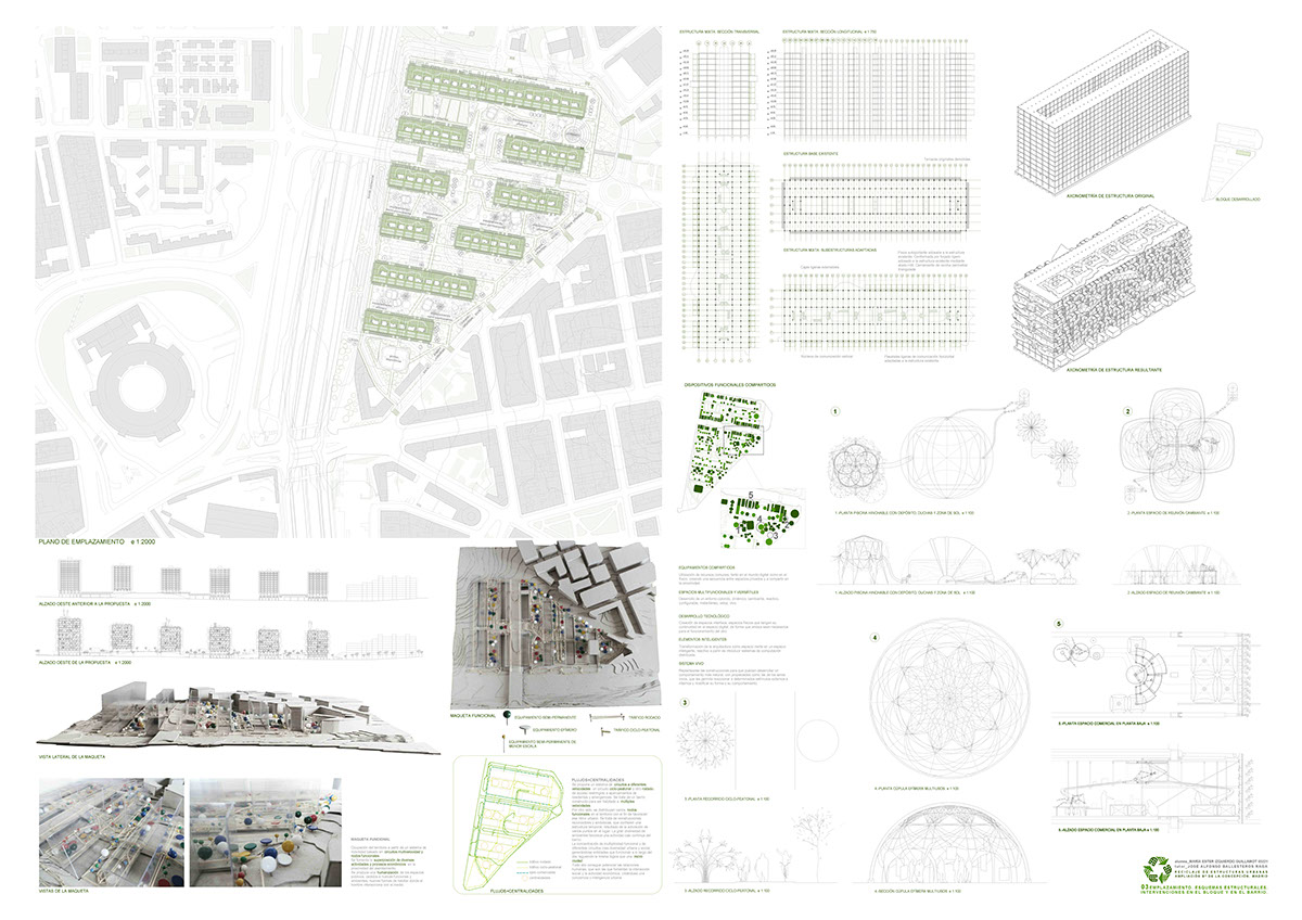 PFC thesis architecture design final project etsam reciclaje urbano urban recycling vivienda housing vivienda colectiva collective housing building construccion