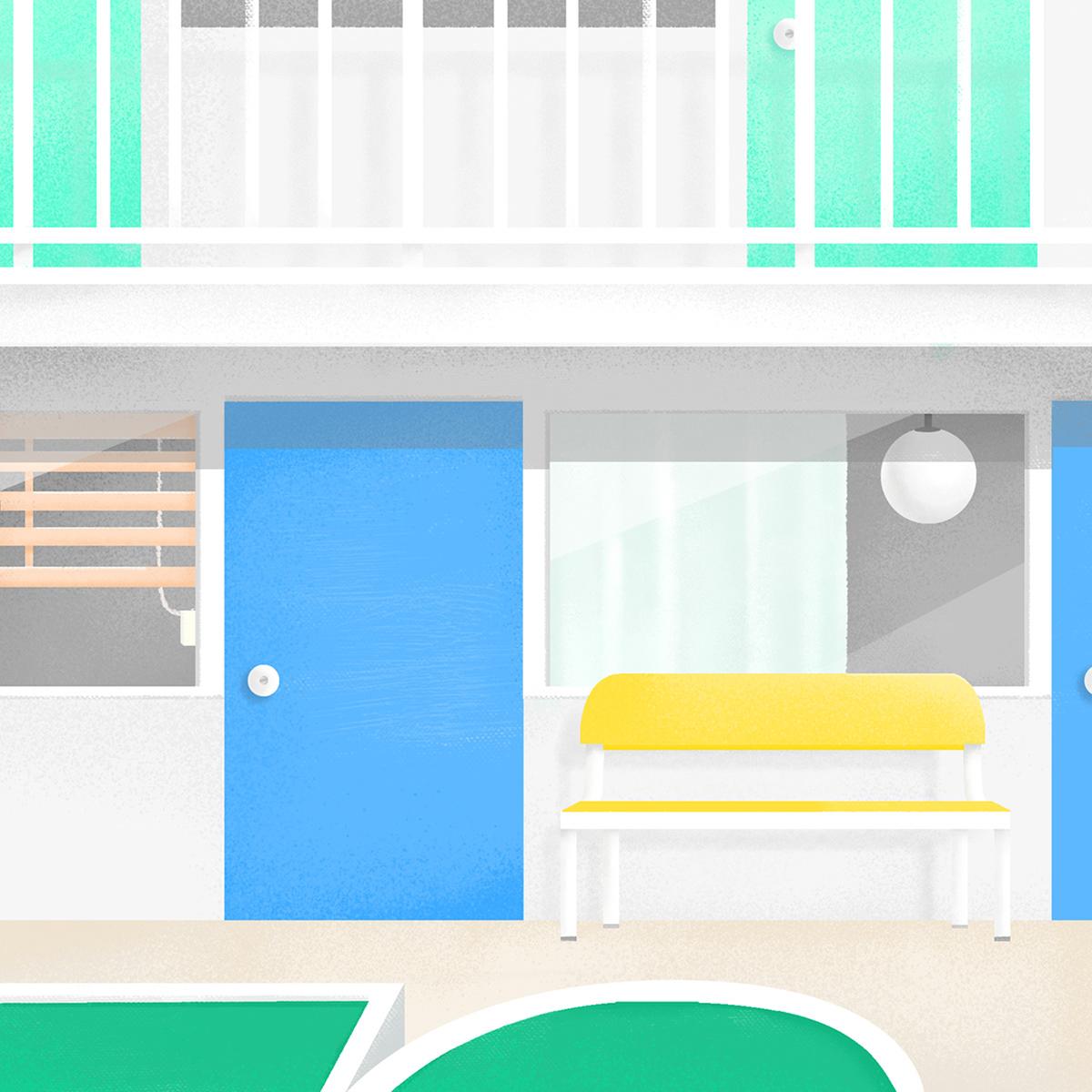 ILLUSTRATION  graphic design  Ordinary Day scenery Interior Plant texture color moment