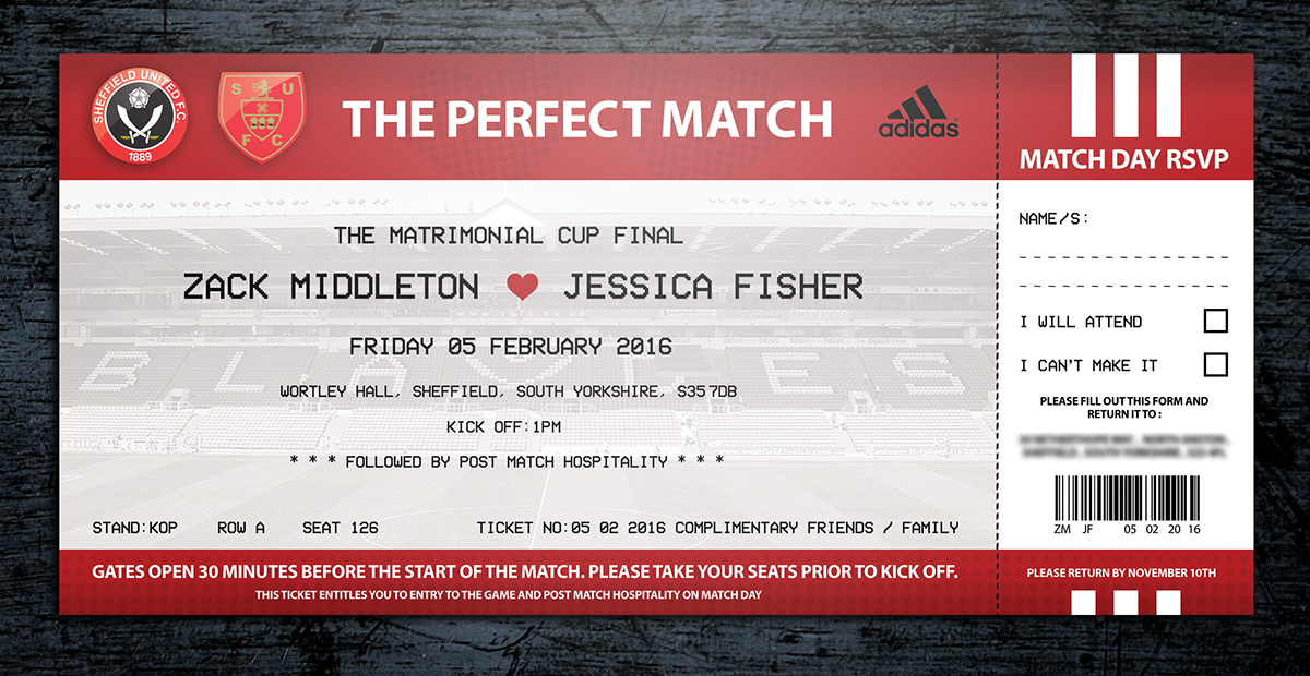 Football Ticket Wedding Invitations on Behance