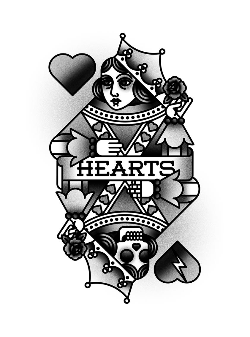 bnomio hearts tattoo tattooflash Poker cards Playingcards queen queenofheats skull play pokercards