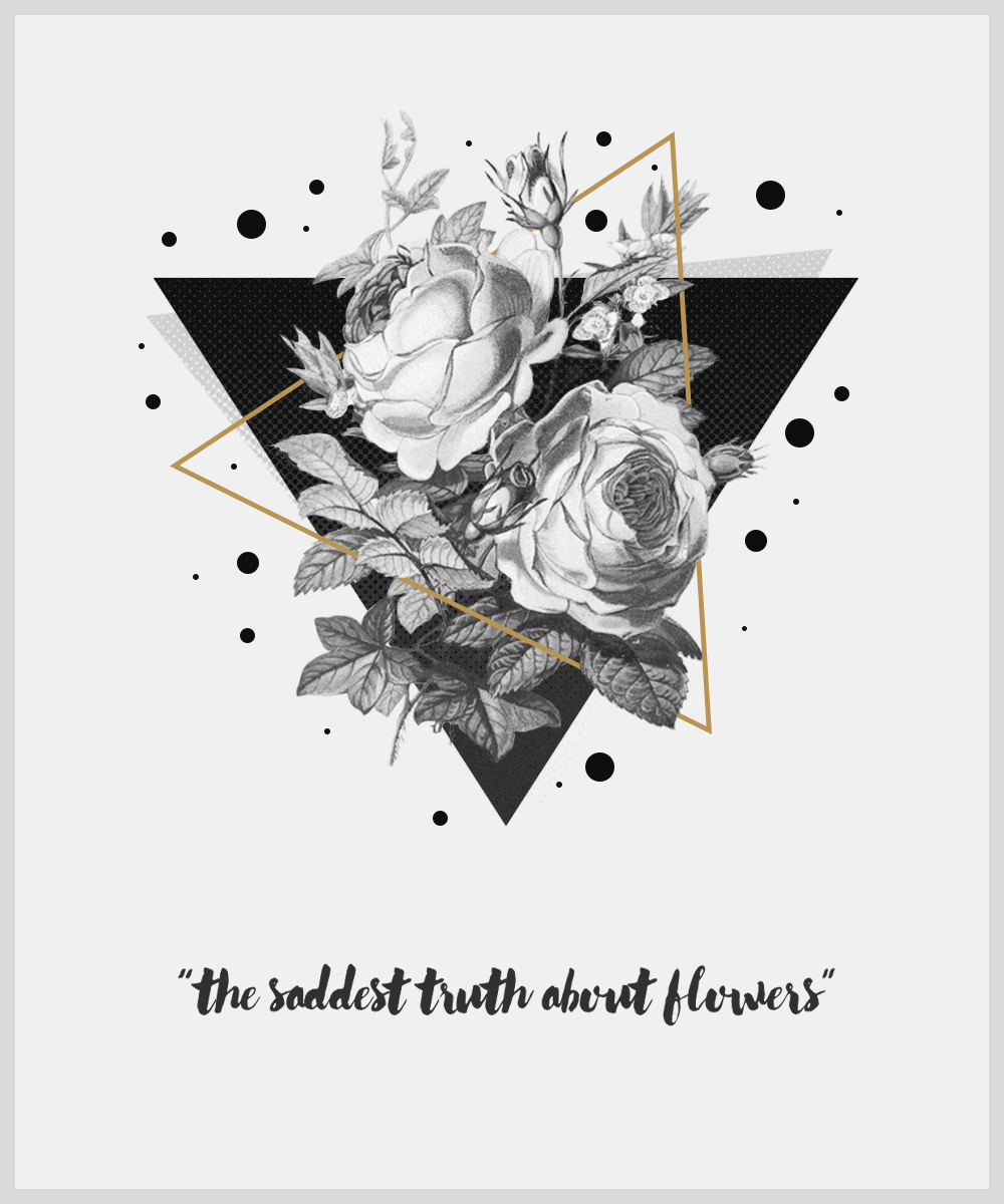Flowers geometry abstract triangle bubbles black rose Perspective poster
