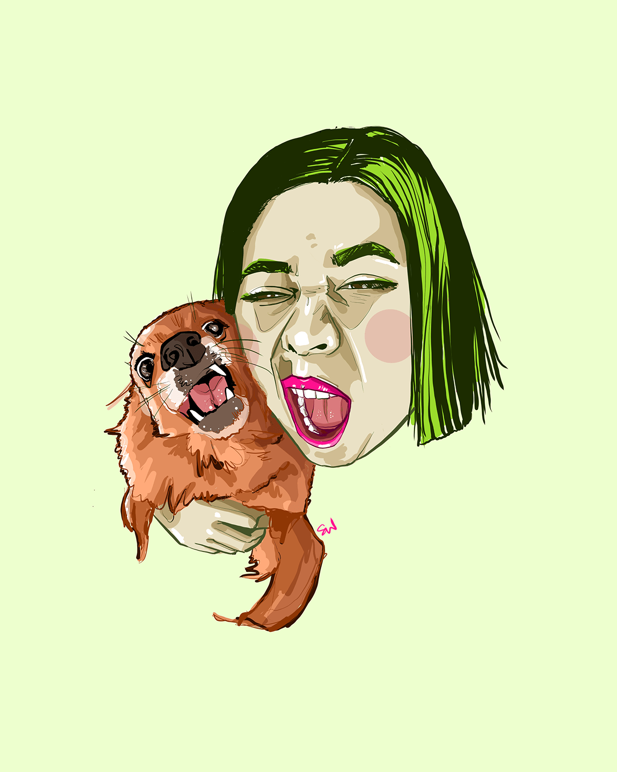 woman with green hair and red-brown dog show their teeth