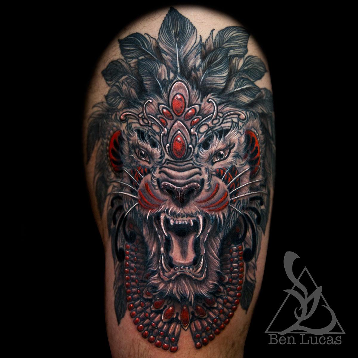 Erwin\'s tribal lion thigh tattoo on Behance