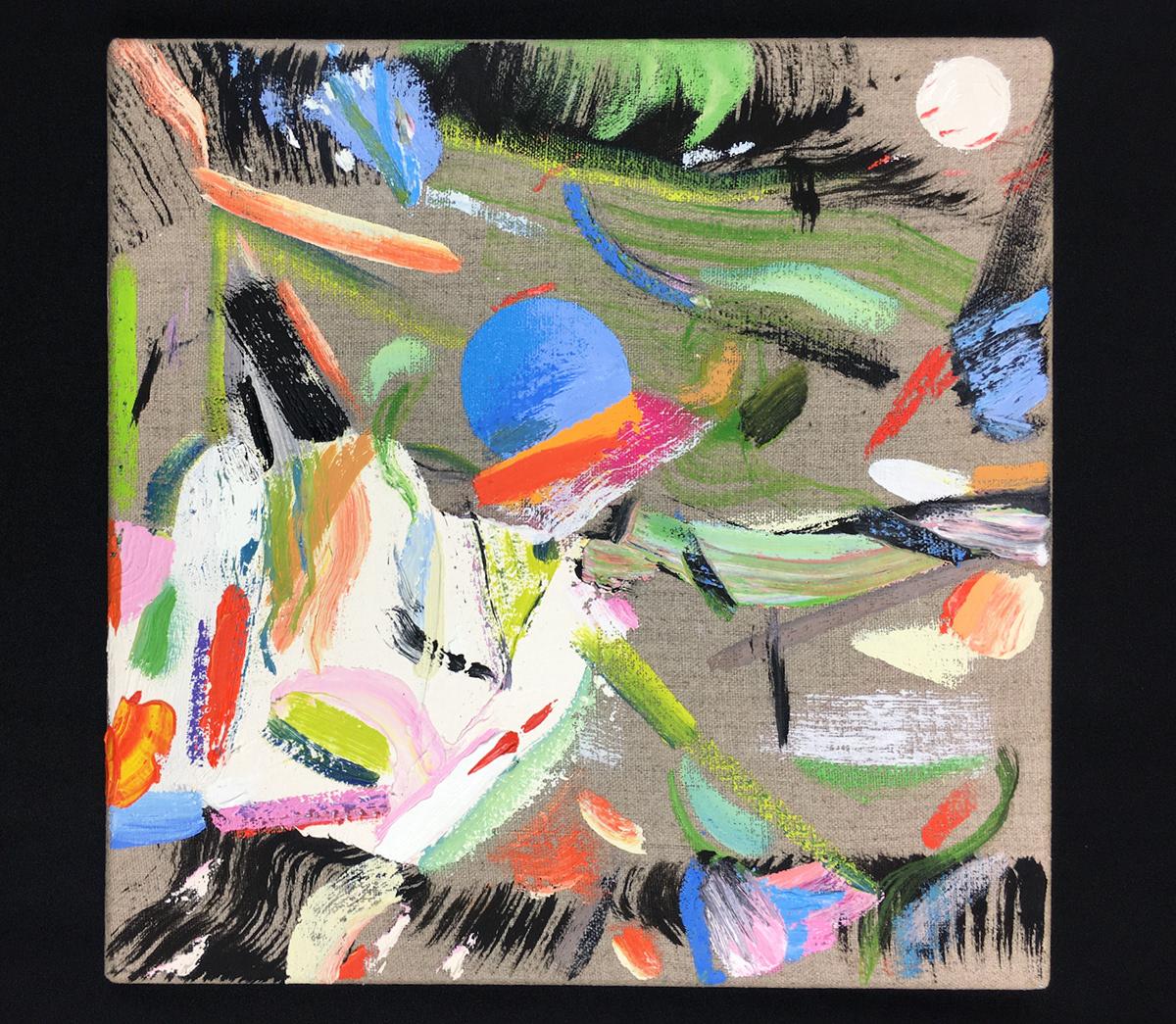 abstraction fresh interior design  linen modern neo-surrealism painting   square surrealism Unique