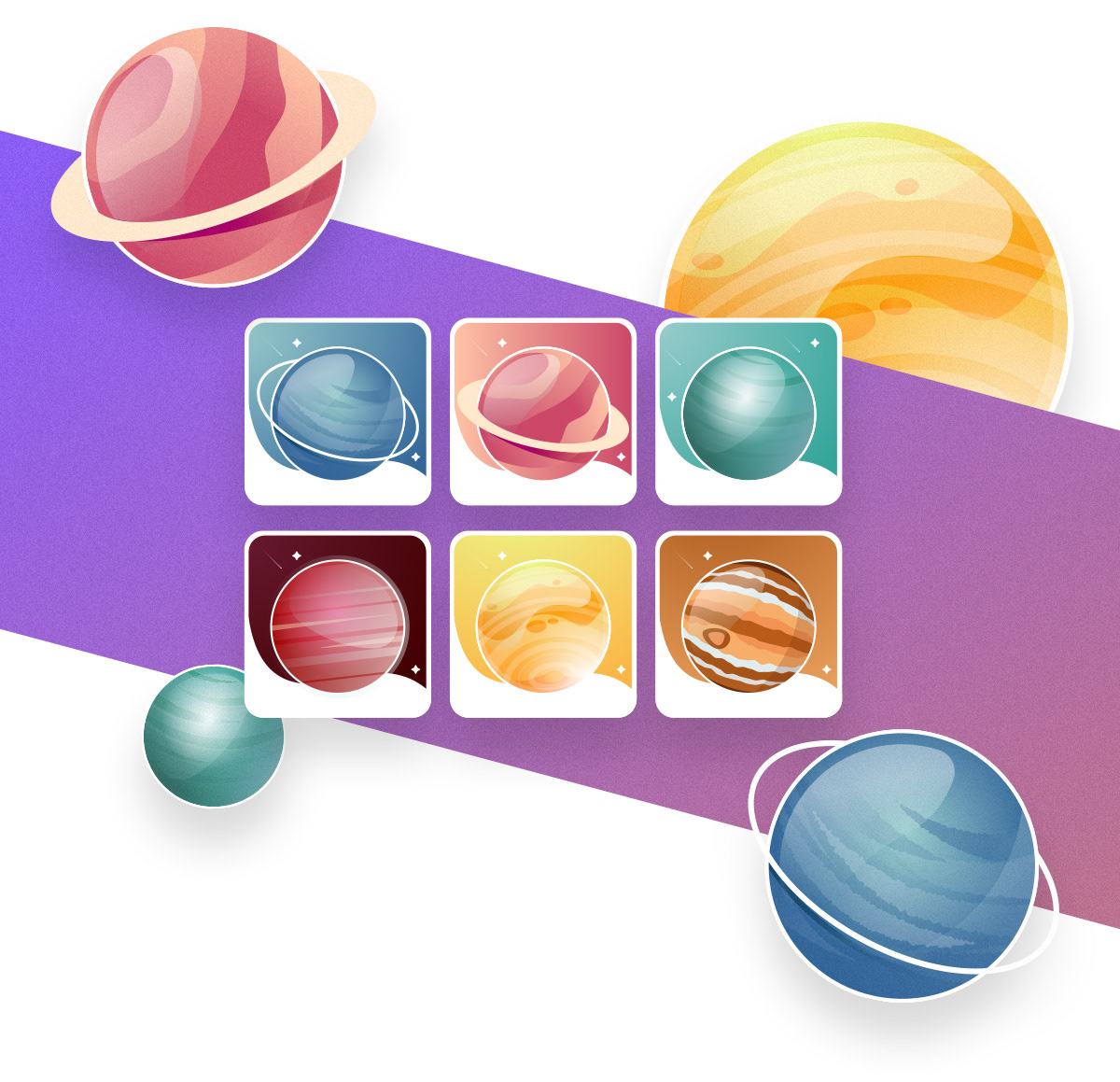 cosmos ILLUSTRATION  Planets rocket Space  stars ux